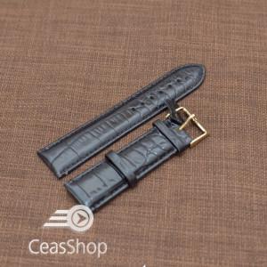 Curea piele vitel neagra captusita finisaj aligator 22mm - 20956
