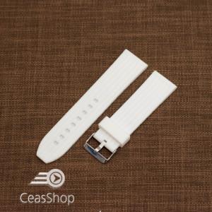 Curea silicon albă cu dungi 22mm - 47994