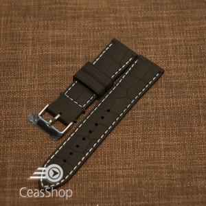 Curea silicon model crocodil neagră cusătură albă 24mm - 45906
