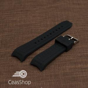 Curea silicon neagra capat curbat 20mm-49207