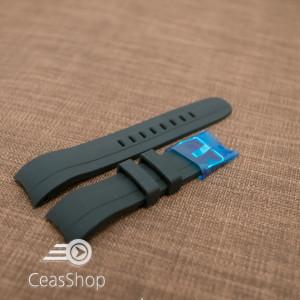 Curea silicon neagra capat curbat 22mm - 42329