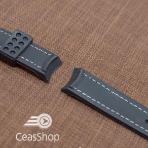 Curea silicon neagra capat curbat 22mm