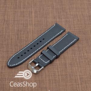 Curea silicon neagra cusatura alba 22mm - 35676