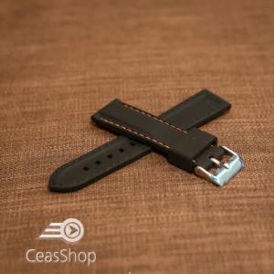 Curea silicon neagră cusături portocalii 24mm - 42298