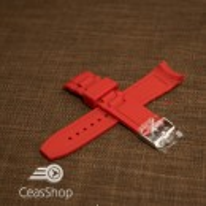 Curea silicon roșie capat curbat 22mm - 43403