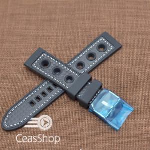 Curea silicon sport GRAND PRIX neagra cusaturi albe 22mm - 38135