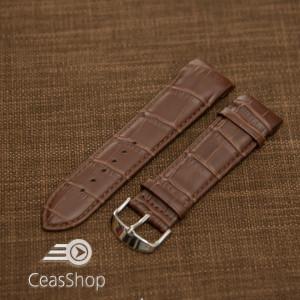 Curea piele capat curbat maro inchis 24mm - 43364
