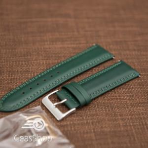 Curea piele lină, căptușită ,cusatură dublă verde 22mm - 42849