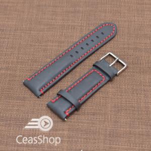 Curea piele neagra Mustang  mata,captusita, cusatura rosie 22mm - 40477