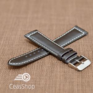 Curea piele neteda captusita neagra 20mm cusatura alba - 36220