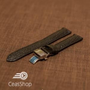Curea piele textura rechin captusita deployant cu arc neagra 22mm - 38778
