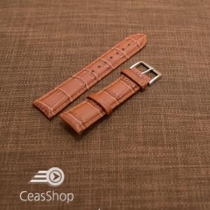 Curea piele vitel, model crocodil castaniu,captusita, lucioasa 20mm - 34835