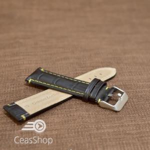 Curea piele vitel model crocodil cusaturi galbene 18mm- 38182