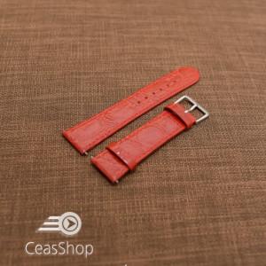 Curea piele vitel plata model crocodil Elegance rosie 18mm - 34496
