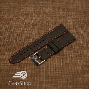 Curea silicon model crocodil neagră cusătură roșie 22mm - 45901