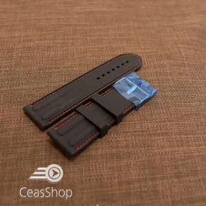 Curea silicon neagra cu cusaturi rosii 26mm - 38249