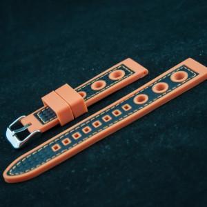 Curea silicon sport GRAND PRIX portocalie cu negru 22mm - 38163