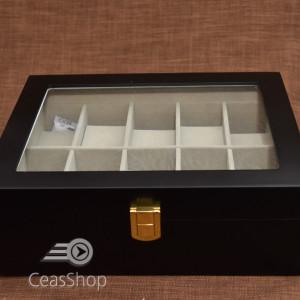 Cutie pastrare ceasuri lemn pentru 10 ceasuri neagră