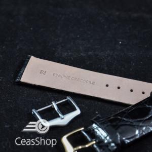 Curea crocodil neagra fara cusatura 22mm XL - 38723