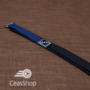 Curea din tesatura de nylon neagra cu bleu sport cu arici 18mm - 37027
