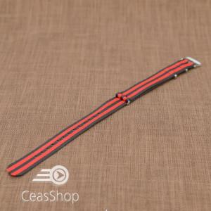 Curea NATO rosu/negru 22mm - 36527