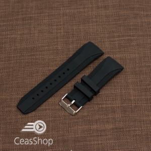 Curea silicon neagra capat curbat 20mm-49204