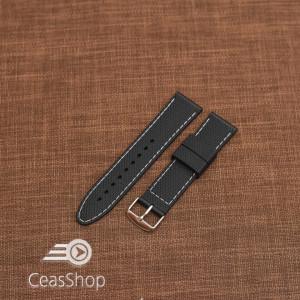 Curea silicon neagra cusaturi albe 22mm - 35676