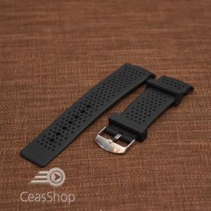 Curea silicon neagra perforata capat curbat 24mm model Tag Heuer