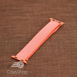 Curea tesatura tip NATO pentru Apple Watch portocalie - 42mm