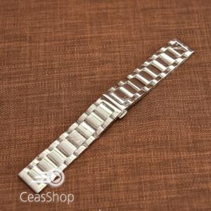 Bratara metalica argintie cu deployant 20mm- 50487