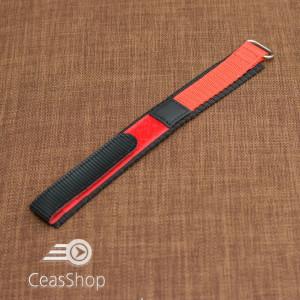 Curea din tesatura de nylon negru cu rosu sport cu arici 18mm - 34002
