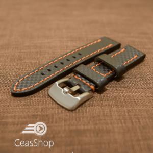 Curea piele fibra carbon neagra cusatura portocalie 20mm - 37011