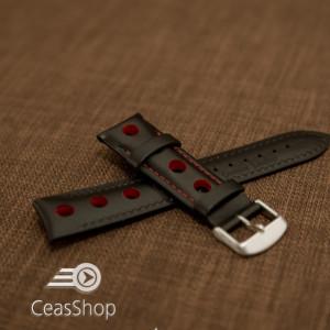 Curea piele GRAND PRIX captusită pe jumătate neagra cusaturi roșii 20mm - 42200