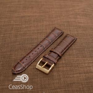 Curea piele vitel, model crocodil maro inchis,captusita, lucioasa  18mm - 34827