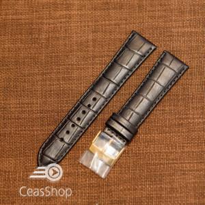 Curea piele vitel neagra model aligator L 21mm - 43618
