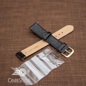 Curea piele vitel plata model crocodil Elegance neagră 16mm - 34465