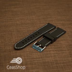 Curea silicon neagră cusături albe 22mm - 42309