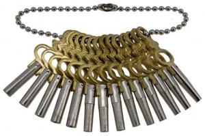Set 14 chei pentru ceasuri buzunar, argintii - 22016