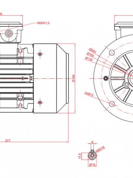 Motor electric monofazat 0.75kw 3000rpm 80 B5