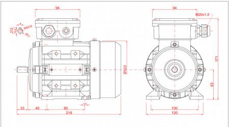 Motor electric trifazat 0.25kw 1400rpm 63 B3