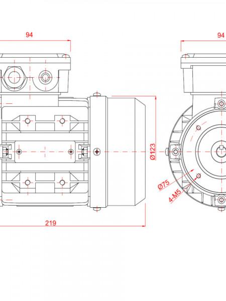Motor electric trifazat 0.37kw 3000rpm 63 B14