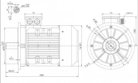 Motor electric trifazat cu doua viteze 6.1/4.5kw 1400/1000rpm 132 B5