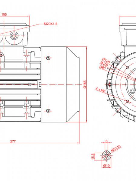 Motor electric trifazat 0.37kw 1000rpm 80 B14