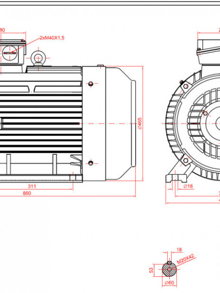 Motor electric trifazat 55kw 1400rpm 225 B3