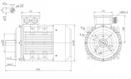 Motor electric trifazat cu doua viteze 3/1.8kw 1400/750rpm 112 B14