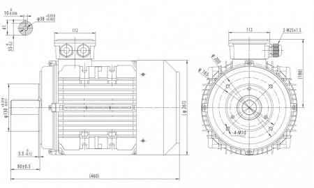 Motor electric trifazat cu doua viteze 7.2/5kw 1400/1000rpm 132 B14