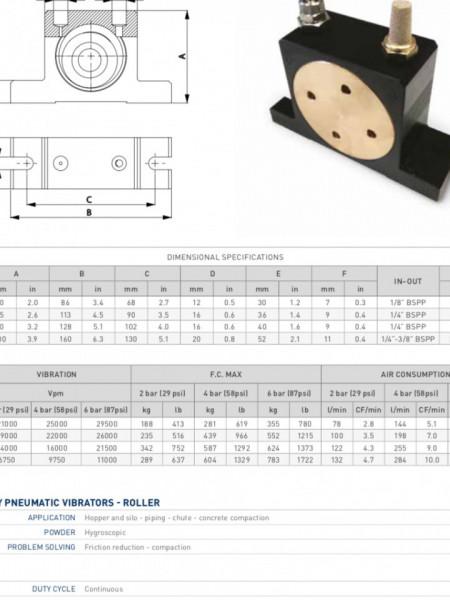 Vibrator pneumatic cu role tip OR100