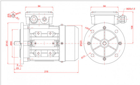 Motor electric monofazat 0.18kw 1400rpm 63 B5