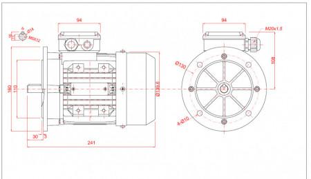 Motor electric trifazat 0.25kw 1400rpm 71 B5