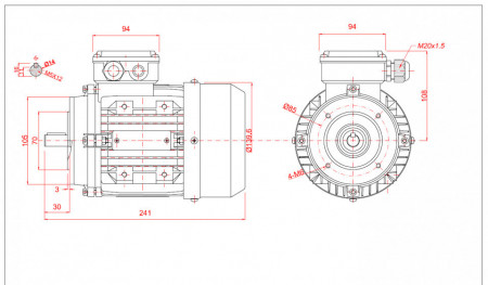 Motor electric trifazat 0.37kw 3000rpm 71 B14